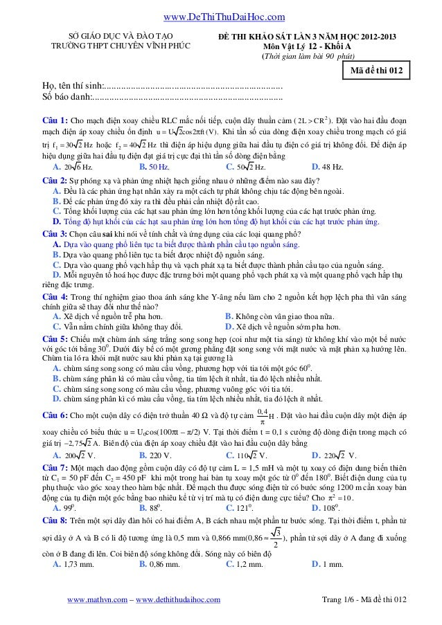 www.DeThiThuDaiHoc.comwww.mathvn.com – www.dethithudaihoc.com Trang 1/6 - Mã đề thi 012SỞ GIÁO DỤC VÀ ĐÀO TẠOTRƯỜNG THPT C...
