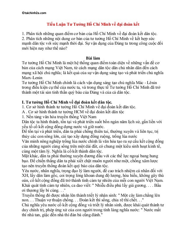 ©taichinh2a.com Tiểu Luận Tư Tưởng Hồ Chí Minh về đại đoàn kết 1. Phân tích những quan điểm cơ bản của Hồ Chí Minh về đại ...