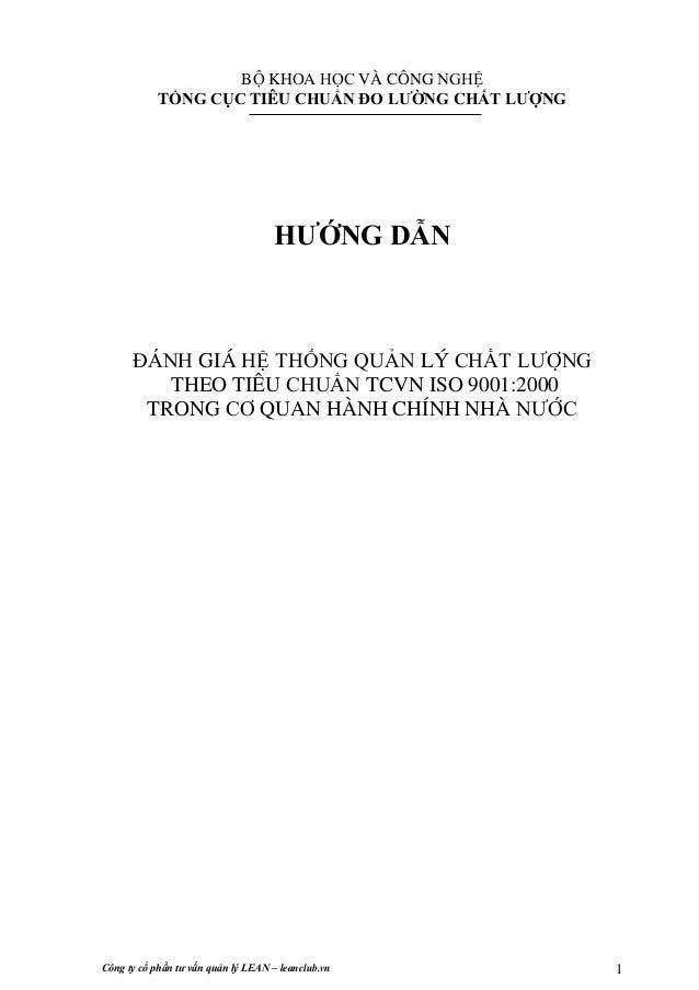 Công ty cổ phần tư vấn quản lý LEAN – leanclub.vn 1  BỘ KHOA HỌC VÀ CÔNG NGHỆ  TỔNG CỤC TIÊU CHUẨN ĐO LƯỜNG CHẤT LƯỢNG  HƯ...