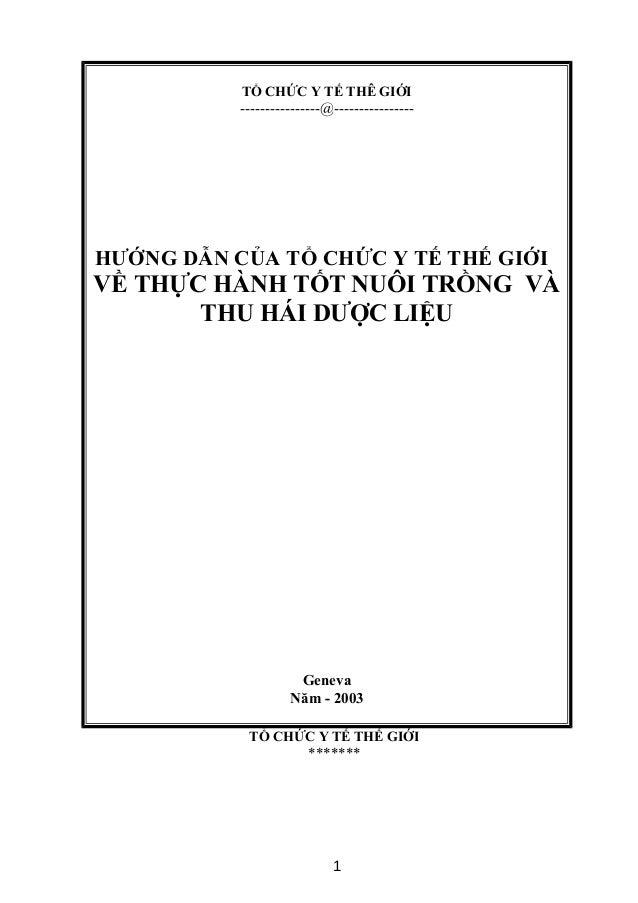 TỔ CHỨC Y TẾ THÊ GIỚI ----------------@---------------- HƯỚNG DẪN CỦA TỔ CHỨC Y TẾ THẾ GIỚI VỀ THỰC HÀNH TỐT NUÔI TRỒNG VÀ...