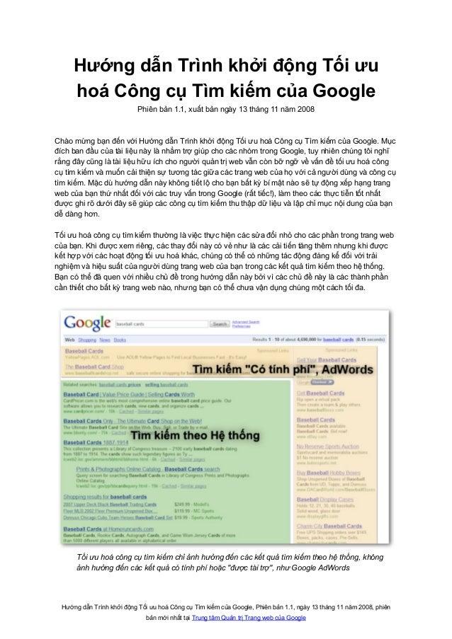Hướng dẫn Trình khởi động Tối ưu hoá Công cụ Tìm kiếm của Google, Phiên bản 1.1, ngày 13 tháng 11 năm 2008, phiên bản mới ...