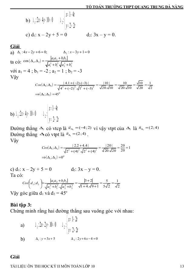 TỔ TOÁN TRƯỜNG THPT QUANG TRUNG ĐÀ NẴNG b)    += −= ∆=−+∆ ty tx yx 22 41 :01042: 21 c) d1: x – 2y + 5 = 0 d2: 3x – y = ...