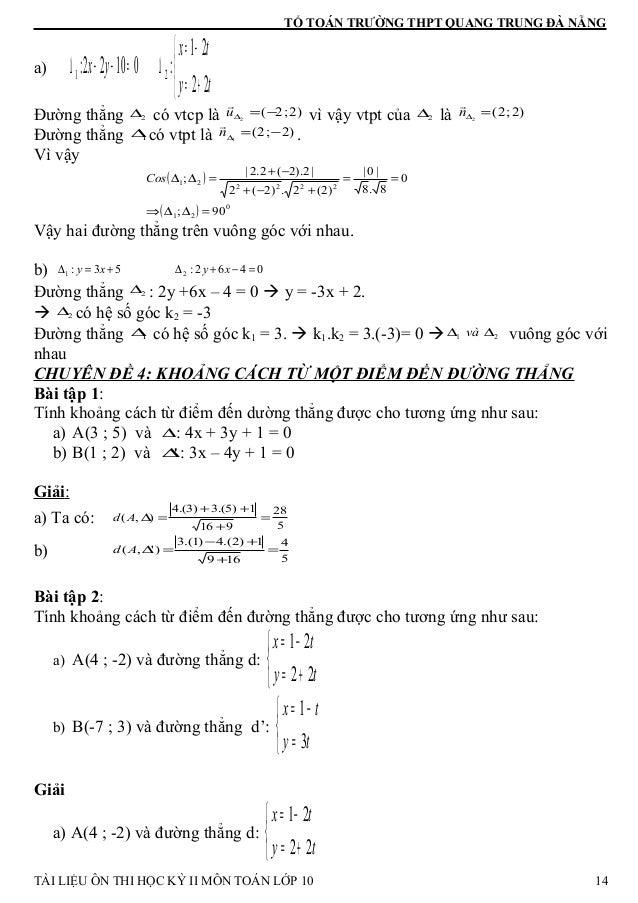TỔ TOÁN TRƯỜNG THPT QUANG TRUNG ĐÀ NẴNG a)    += −= ∆=−−∆ ty tx yx 22 21 :01022: 21 Đường thẳng 2∆ có vtcp là )2;2(2 −=...