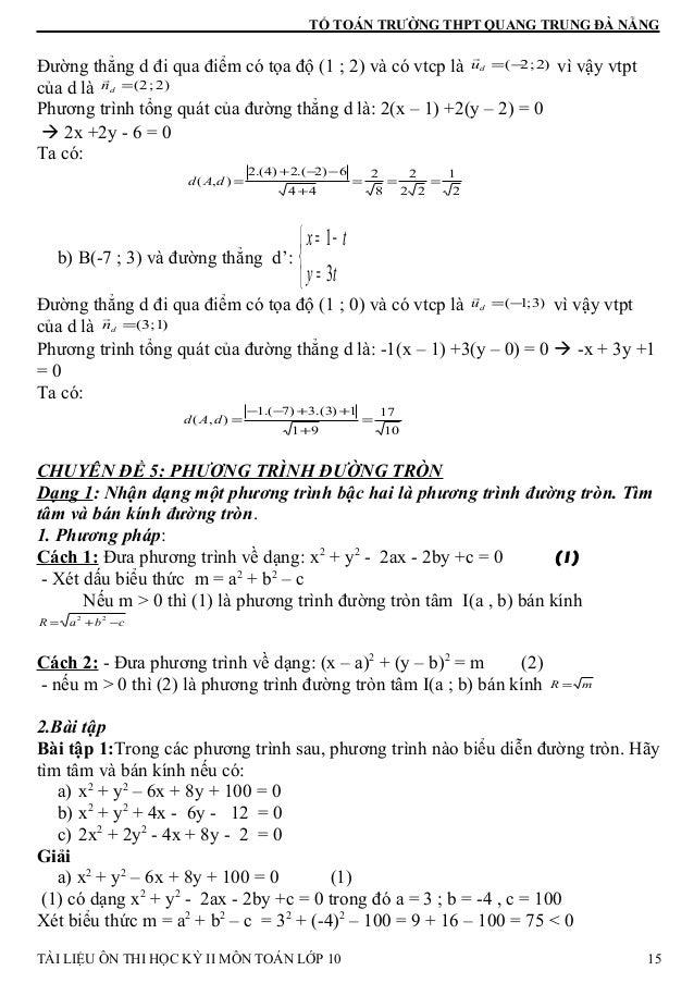 TỔ TOÁN TRƯỜNG THPT QUANG TRUNG ĐÀ NẴNG Đường thẳng d đi qua điểm có tọa độ (1 ; 2) và có vtcp là )2;2(−=du r vì vậy vtpt ...