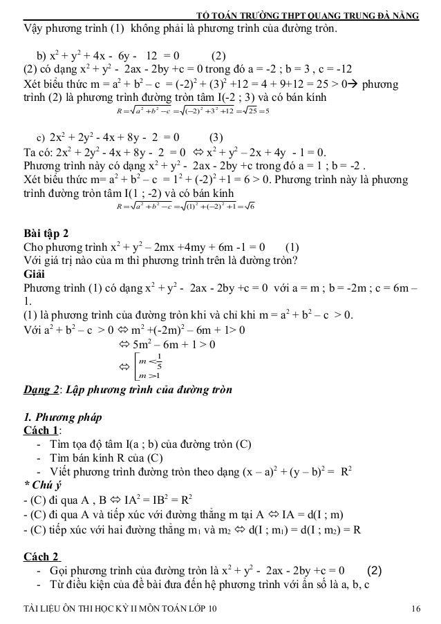 TỔ TOÁN TRƯỜNG THPT QUANG TRUNG ĐÀ NẴNG Vậy phương trình (1) không phải là phương trình của đường tròn. b) x2 + y2 + 4x - ...