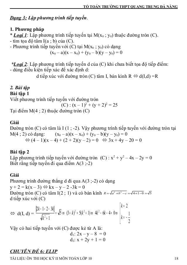 TỔ TOÁN TRƯỜNG THPT QUANG TRUNG ĐÀ NẴNG Dạng 3: Lập phương trình tiếp tuyến. 1. Phương pháp * Loại 1: Lập phương trình tiế...