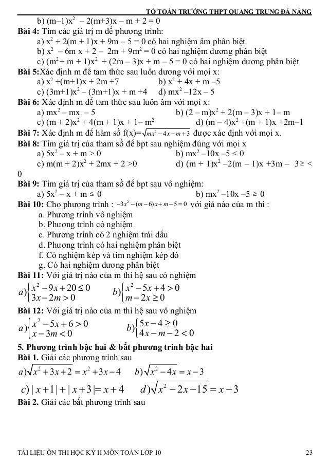 TỔ TOÁN TRƯỜNG THPT QUANG TRUNG ĐÀ NẴNG b) (m–1)x2 – 2(m+3)x – m + 2 = 0 Bài 4: Tìm các giá trị m để phương trình: a) x2 +...