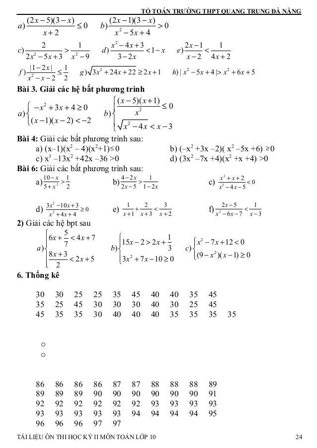 TỔ TOÁN TRƯỜNG THPT QUANG TRUNG ĐÀ NẴNG 2 (2 5)(3 ) (2 1)(3 ) ) 0 ) 0 2 5 4 x x x x a b x x x − − − − ≤ > + − + 2 2 2 4 32...