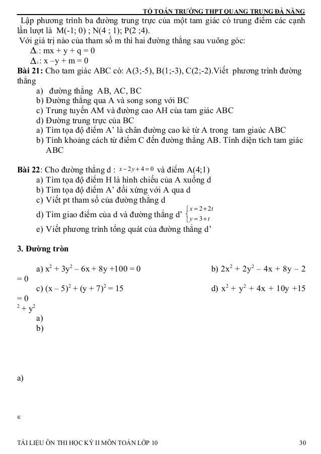 TỔ TOÁN TRƯỜNG THPT QUANG TRUNG ĐÀ NẴNG Lập phương trình ba đường trung trực của một tam giác có trung điểm các cạnh lần l...