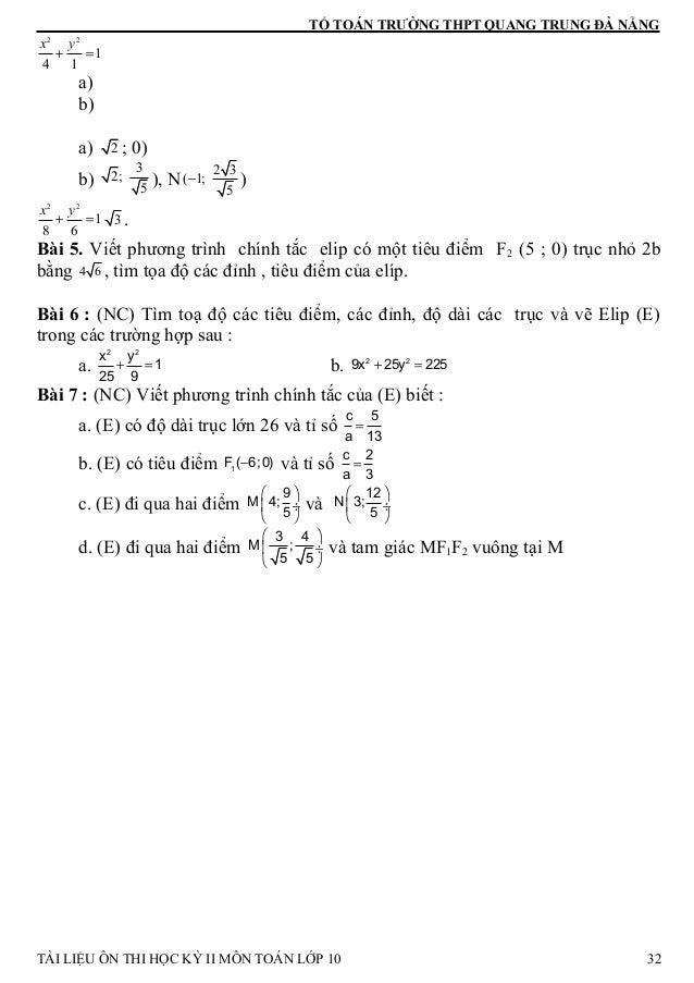TỔ TOÁN TRƯỜNG THPT QUANG TRUNG ĐÀ NẴNG 2 2 1 4 1 x y + = a) b) a) 2 ; 0) b) 3 2; 5 ), N 2 3 ( 1; 5 − ) 2 2 1 8 6 x y + = ...