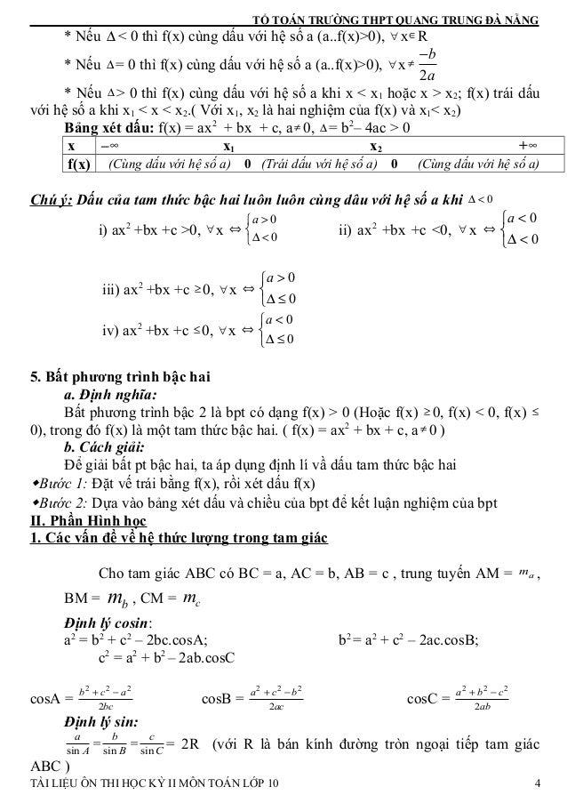 TỔ TOÁN TRƯỜNG THPT QUANG TRUNG ĐÀ NẴNG * Nếu ∆ < 0 thì f(x) cùng dấu với hệ số a (a..f(x)>0), ∀ x∈R * Nếu ∆ = 0 thì f(x) ...