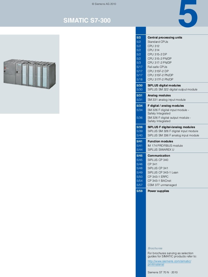 © Siemens AG 2010SIMATIC S7-300                            5/2    Central processing units                            5/2 ...