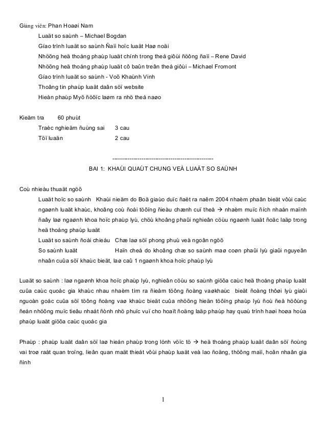 Giảng viên: Phan Hoaøi NamLuaät so saùnh – Michael BogdanGíao trình luaät so saùnh Ñaïi hoïc luaät Haø noäiNhöõng heä thoá...