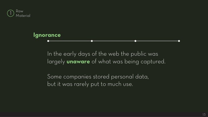 Raw 1   Material                   Ignorance                     In the early days of the web the public was              ...