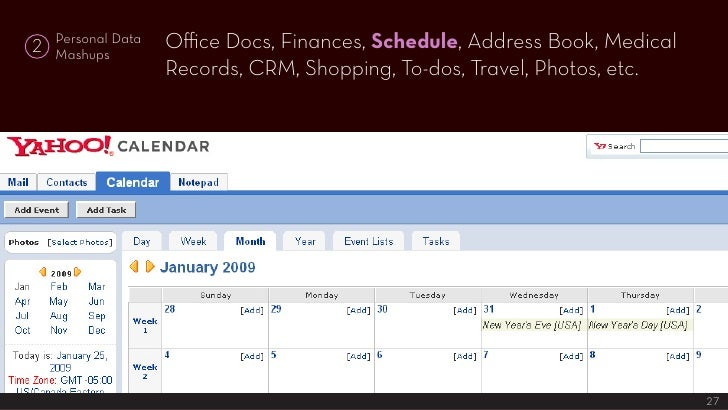 Office Docs, Finances, Schedule, Address Book, Medical     Personal Data 2   Mashups                     Records, CRM, Sho...
