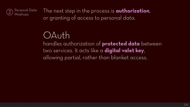 The next step in the process is authorization,     Personal Data 2   Mashups                     or granting of access to ...