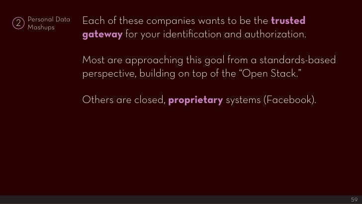 Each of these companies wants to be the trusted     Personal Data 2   Mashups                     gateway for your identif...