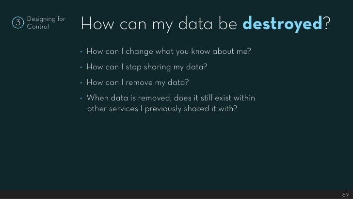 How can my data be destroyed?     Designing for 3   Control                       ◊ How can I change what you know about m...
