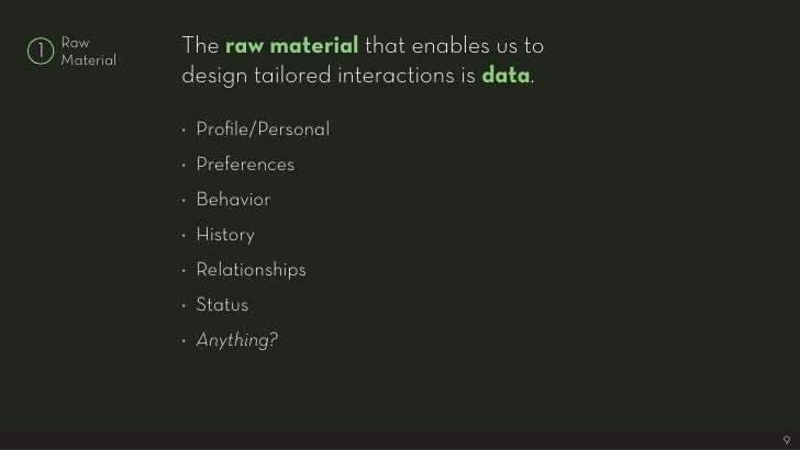 The raw material that enables us to     Raw 1   Material                design tailored interactions is data.             ...