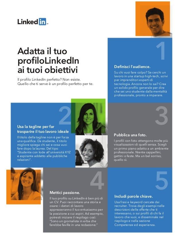1 2 3 4 5 Il profilo LinkedIn perfetto? Non esiste. Quello che ti serve è un profilo perfetto per te. Adatta il tuo profiloLi...