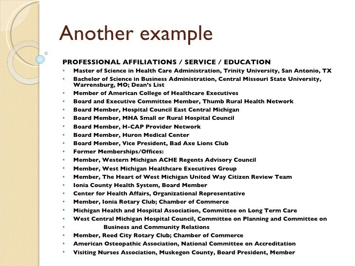 what are affiliations on a resumes
