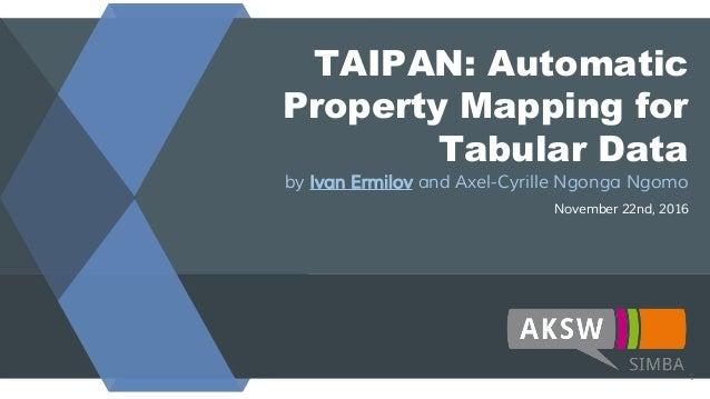 TAIPAN: Automatic Property Mapping for Tabular Data by Ivan Ermilov and Axel-Cyrille Ngonga Ngomo November 22nd, 2016 1