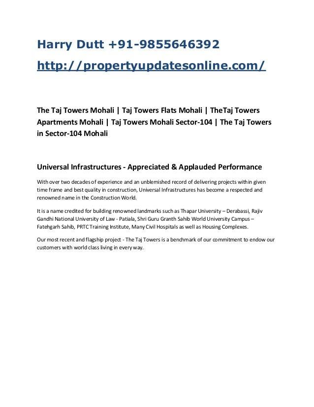 Harry Dutt +91-9855646392 http://propertyupdatesonline.com/  The Taj Towers Mohali | Taj Towers Flats Mohali | TheTaj Towe...