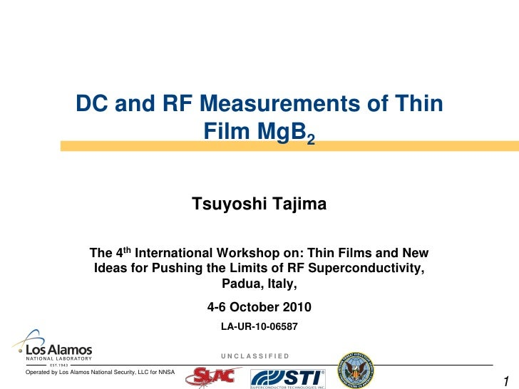 DC and RF Measurements of Thin                            Film MgB2                                                       ...