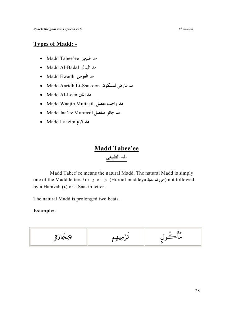 Reach the goal via Tajweed rule                                  1st edition    Types of Madd: -      • Madd Tabee'ee     ...