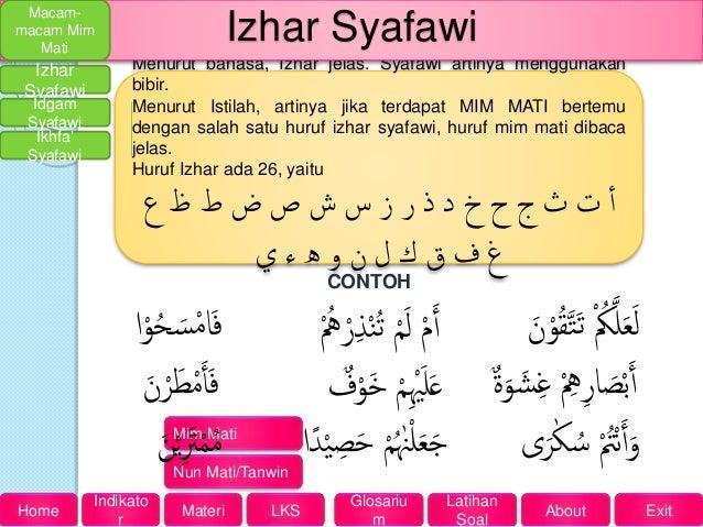 Hukum Bacaan Mim Mati Contoh Izhar Syafawi Ikhfa Syafawi Dan