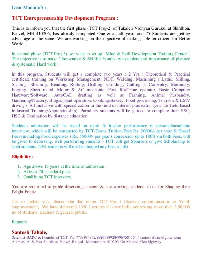 Dear Madam/Sir, TCT Entrepreneurship Development Program : This is to inform you that the first phase (TCT Proj-2) of Taka...
