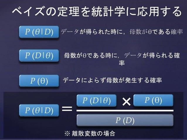 ※ 離散変数の場合 ベイズの定理を統計学に応用する P (θ|D) P (θ)P (D|θ) = P (D) × データが得られた時に,母数がθである確率 母数がθである時に,データが得られる確 率 データによらず母数が発生する確率 P (θ|...