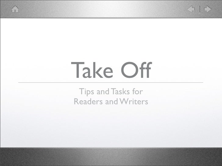 Take Off  Tips and Tasks for Readers and Writers