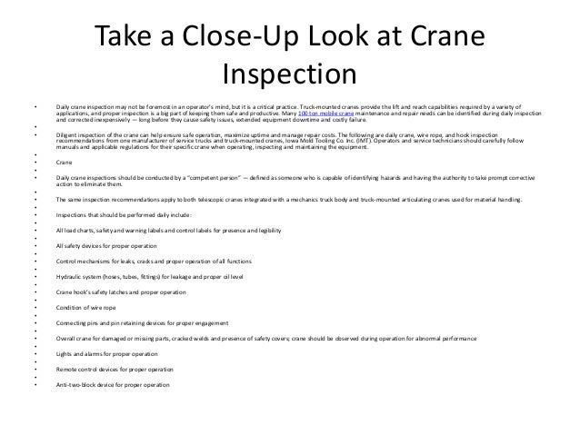 Take a close up look at crane inspection