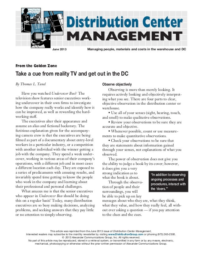 Distribution Center MANAGEMENT June 2013  Managing people, materials and costs in the warehouse and DC  From the Golden Z...