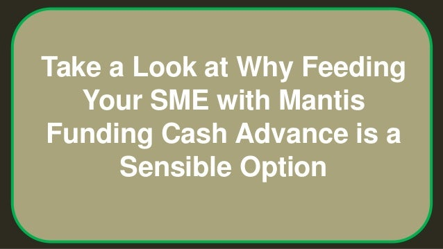 Take a Look at Why Feeding Your SME with Mantis Funding Cash Advance is a Sensible Option