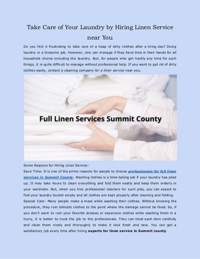 Take Care of Your Laundry by Hiring Linen Service near You Do you find it frustrating to take care of a heap of dirty clot...