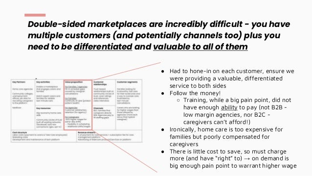 Double-sided marketplaces are incredibly difficult - you have multiple customers (and potentially channels too) plus you n...