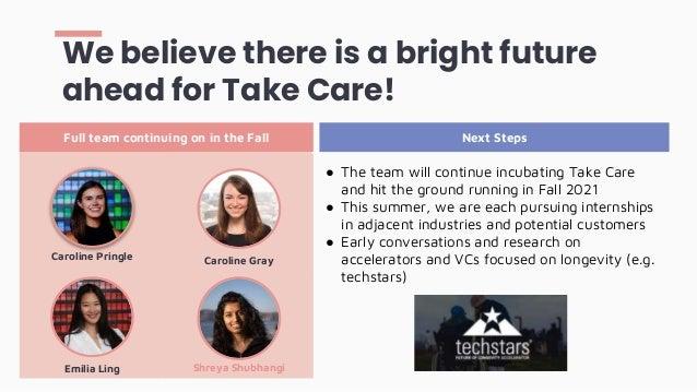 Shreya Shubhangi We believe there is a bright future ahead for Take Care! Caroline Pringle Caroline Gray Emilia Ling Full ...