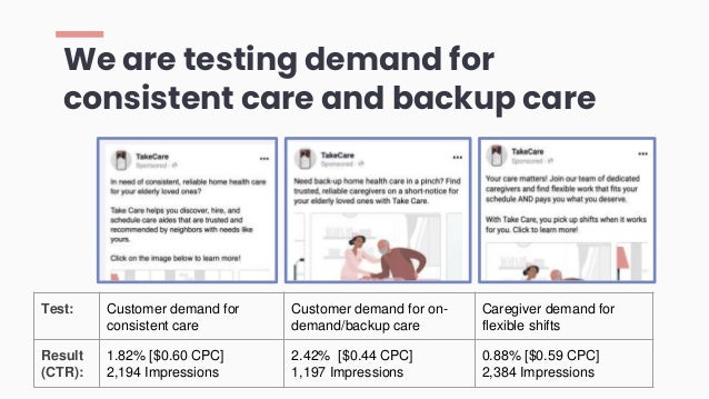 We are testing demand for consistent care and backup care Test: Customer demand for consistent care Customer demand for on...