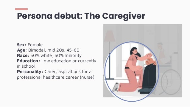 Persona debut: The Caregiver Sex: Female Age: Bimodal, mid 20s, 45-60 Race: 50% white, 50% minority Education: Low educati...