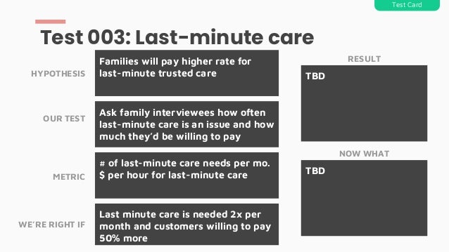 Ask family interviewees how often last-minute care is an issue and how much they'd be willing to pay Families will pay hig...
