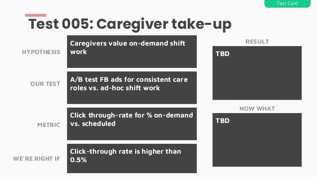 A/B test FB ads for consistent care roles vs. ad-hoc shift work Caregivers value on-demand shift work Test 005: Caregiver ...