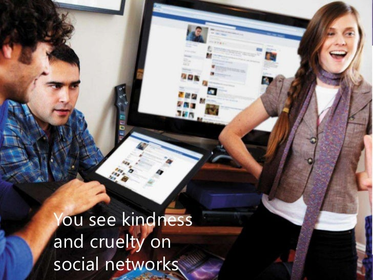 You see kindness andcruelty on social networks88%of teens surveyedwitnessed cruelty        78%        of teens surveyed   ...