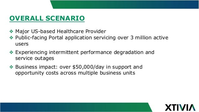 OVERALL SCENARIO ❖ Major US-based Healthcare Provider ❖ Public-facing Portal application servicing over 3 million active...