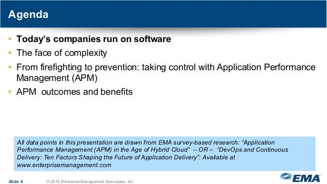 Agenda Slide 4 © 2015 Enterprise Management Associates, Inc. • Today's companies run on software • The face of complexity ...