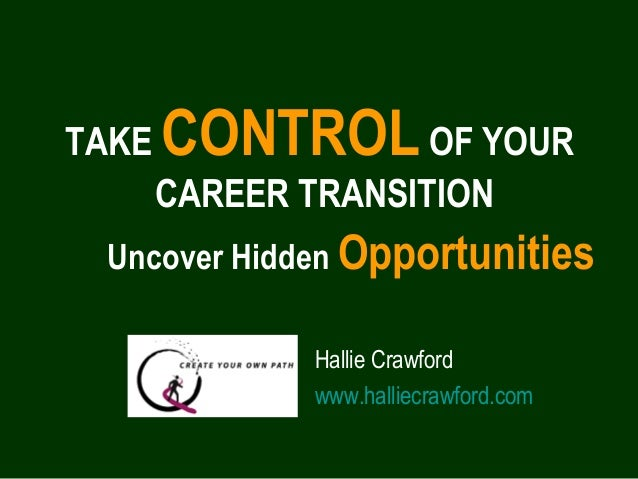 Uncover Hidden Opportunities TAKE CONTROLOF YOUR CAREER TRANSITION Hallie Crawford www.halliecrawford.com