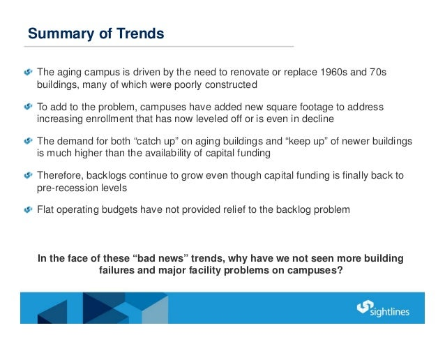 Summary of Trends The aging campus is driven by the need to renovate or replace 1960s and 70s buildings, many of which wer...