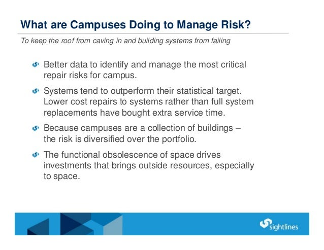 Better data to identify and manage the most critical repair risks for campus. Systems tend to outperform their statistical...