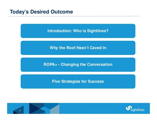 Today's Desired Outcome Introduction: Who is Sightlines? Why the Roof Hasn't Caved In ROPA+ - Changing the Conversation Fi...